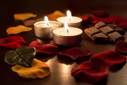 Romantic Tealights With Chocolate and Rose Petals